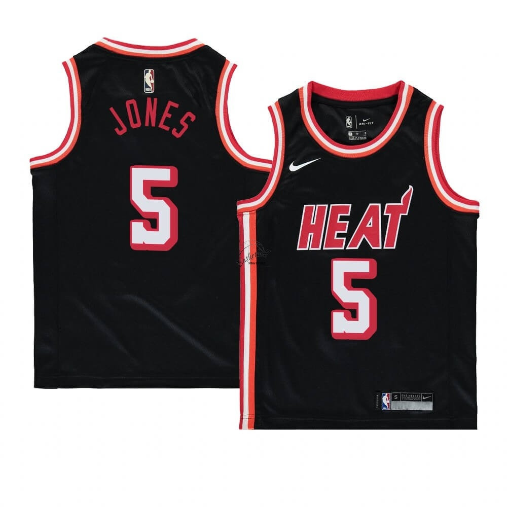 Choisir Maillot NBA Enfant Miami Heat NO.5 Derrick Jones Noir Hardwood Classics 1996-97