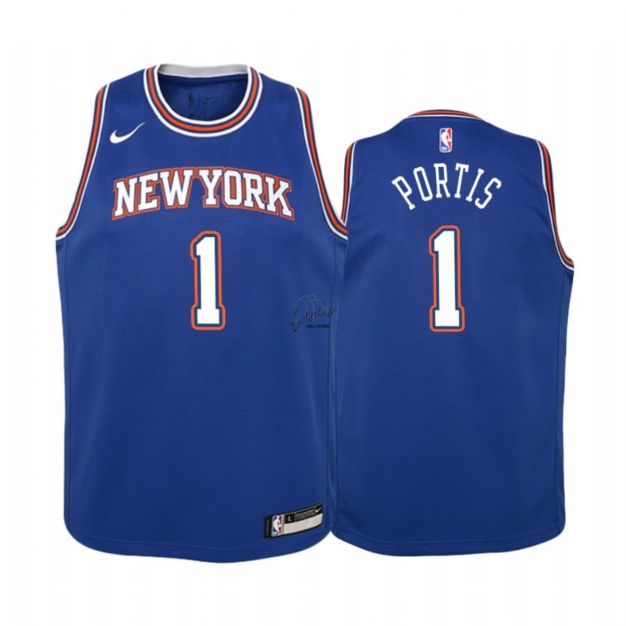 Choisir Maillot NBA Enfant New York Knicks NO.1 Bobby Portis Bleu Statement 2019-20