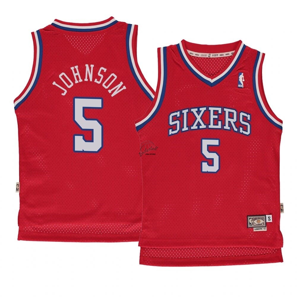 Choisir Maillot NBA Enfant Philadelphia Sixers NO.5 Amir Johnson Rouge Hardwood Classics 1982-83
