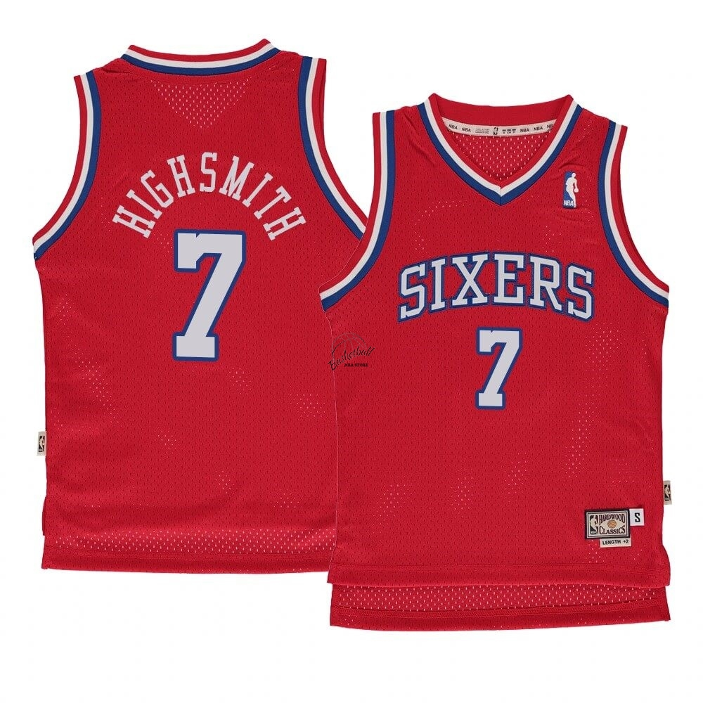 Choisir Maillot NBA Enfant Philadelphia Sixers NO.7 Haywood Highsmith Rouge Hardwood Classics 1982-83