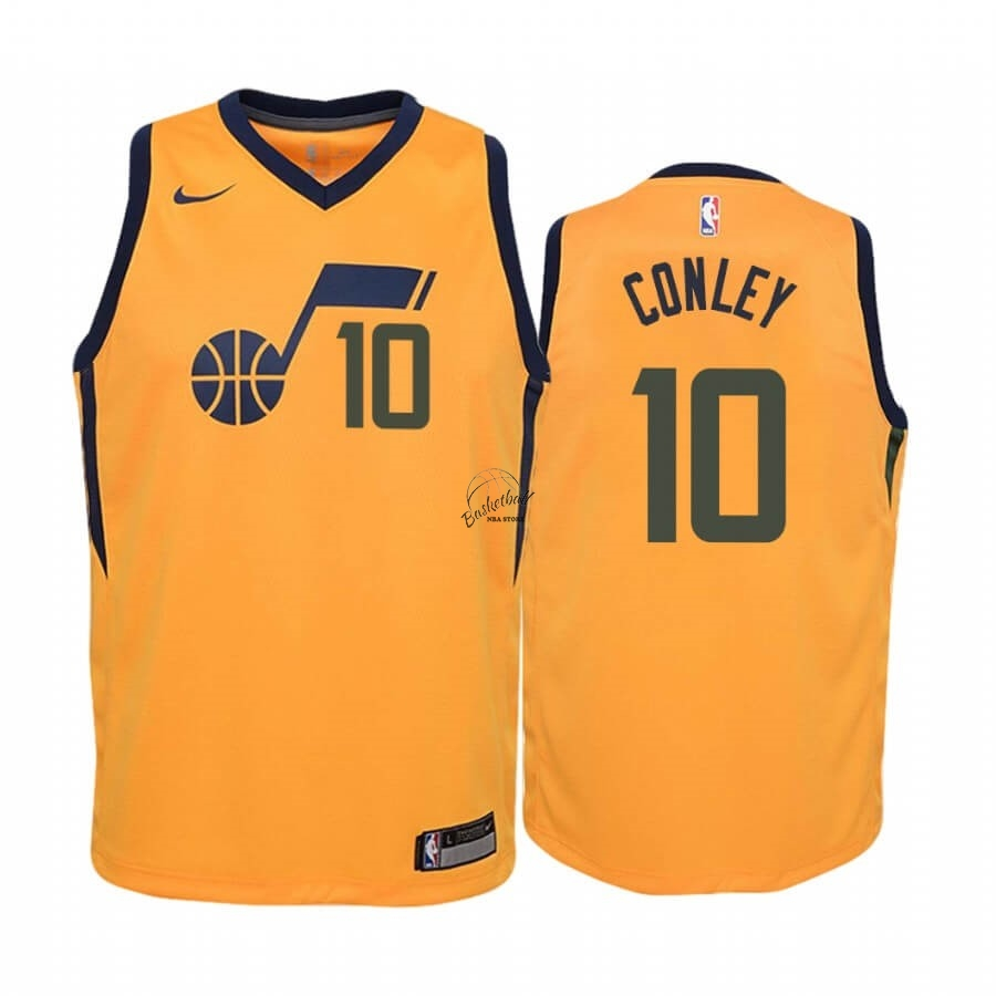 Choisir Maillot NBA Enfant Utah Jazz NO.10 Mike Conley Jaune Statement 2019-20