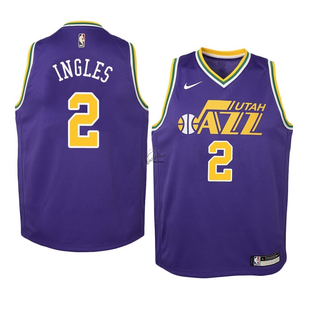 Choisir Maillot NBA Enfant Utah Jazz NO.2 Joe Ingles Pourpre Hardwood Classics