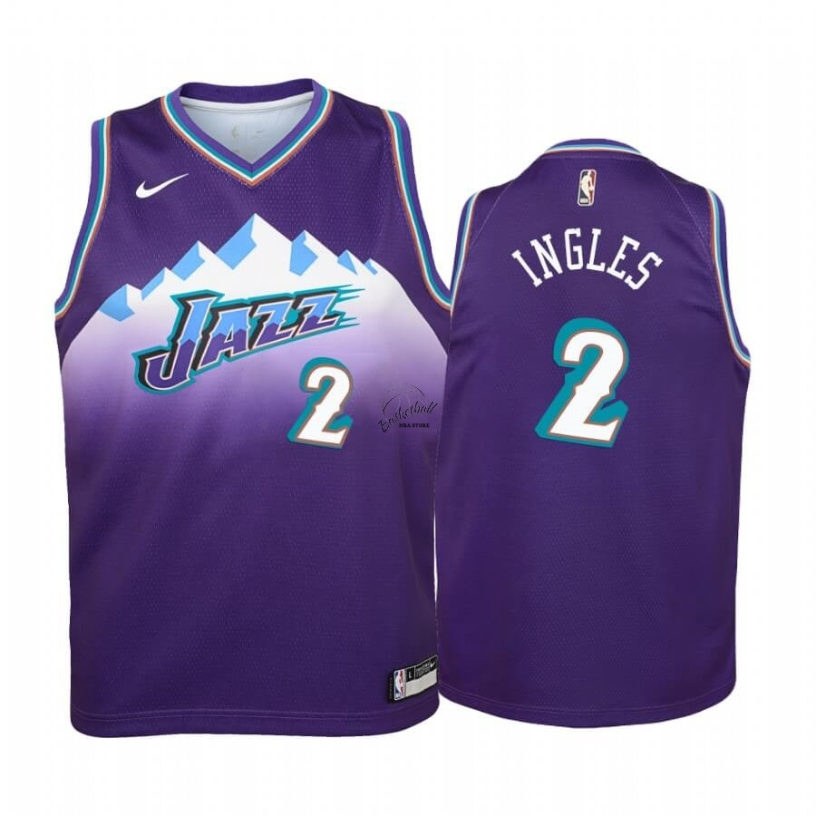Choisir Maillot NBA Enfant Utah Jazz NO.2 Joe Ingles Pourprel Hardwood Classics 2019-20