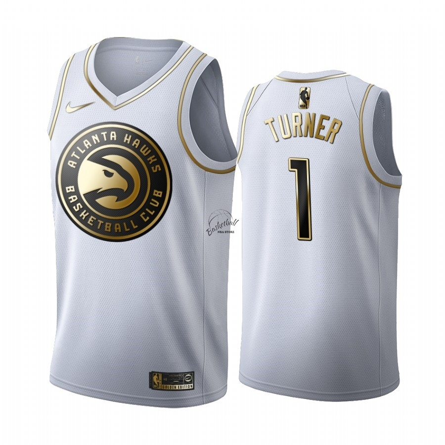 Choisir Maillot NBA Nike Atlanta Hawks NO.1 Evan Turner Blanc Or 2019-20