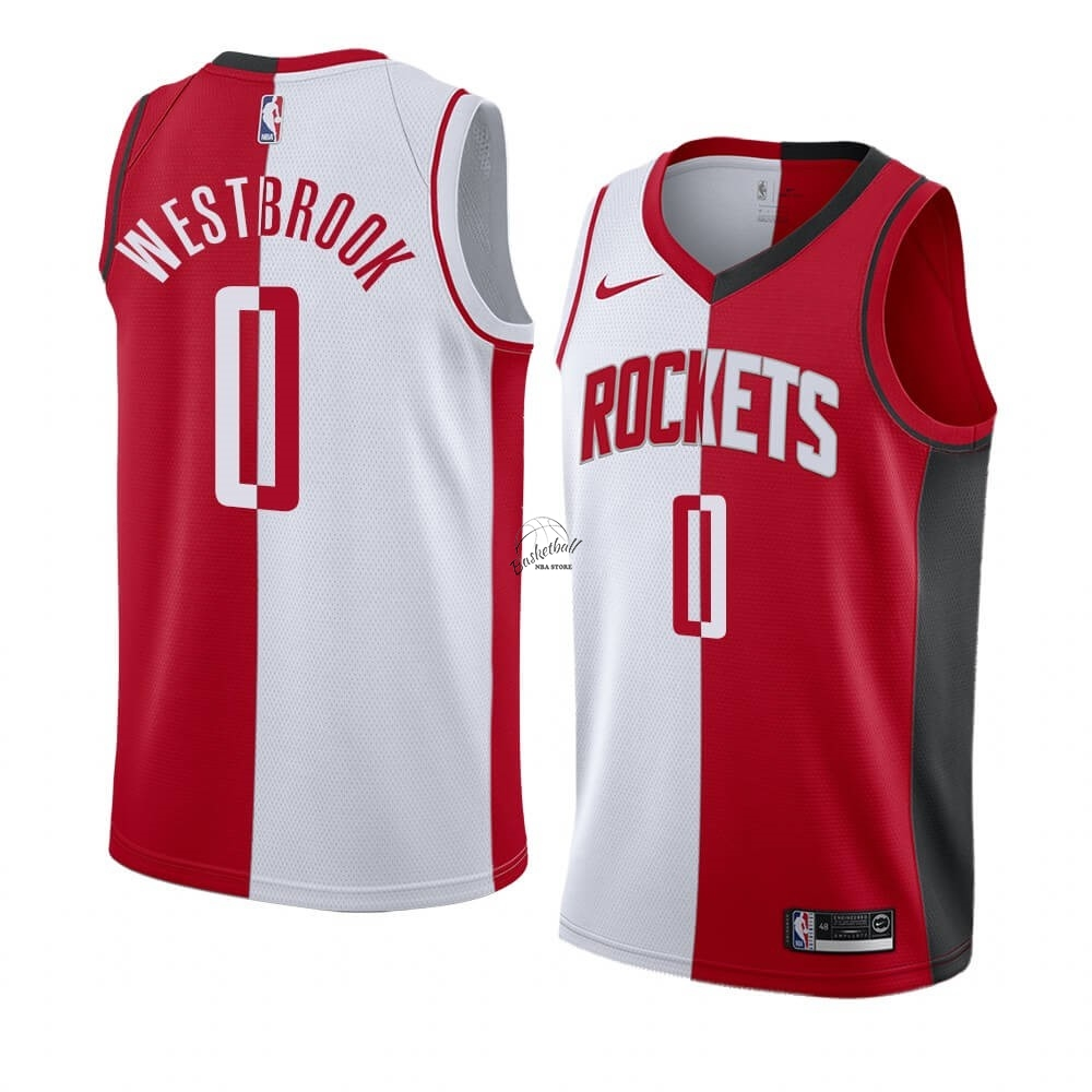 Choisir Maillot NBA Nike Houston Rockets NO.0 Russell Westbrook Rouge Blanc Split Edition
