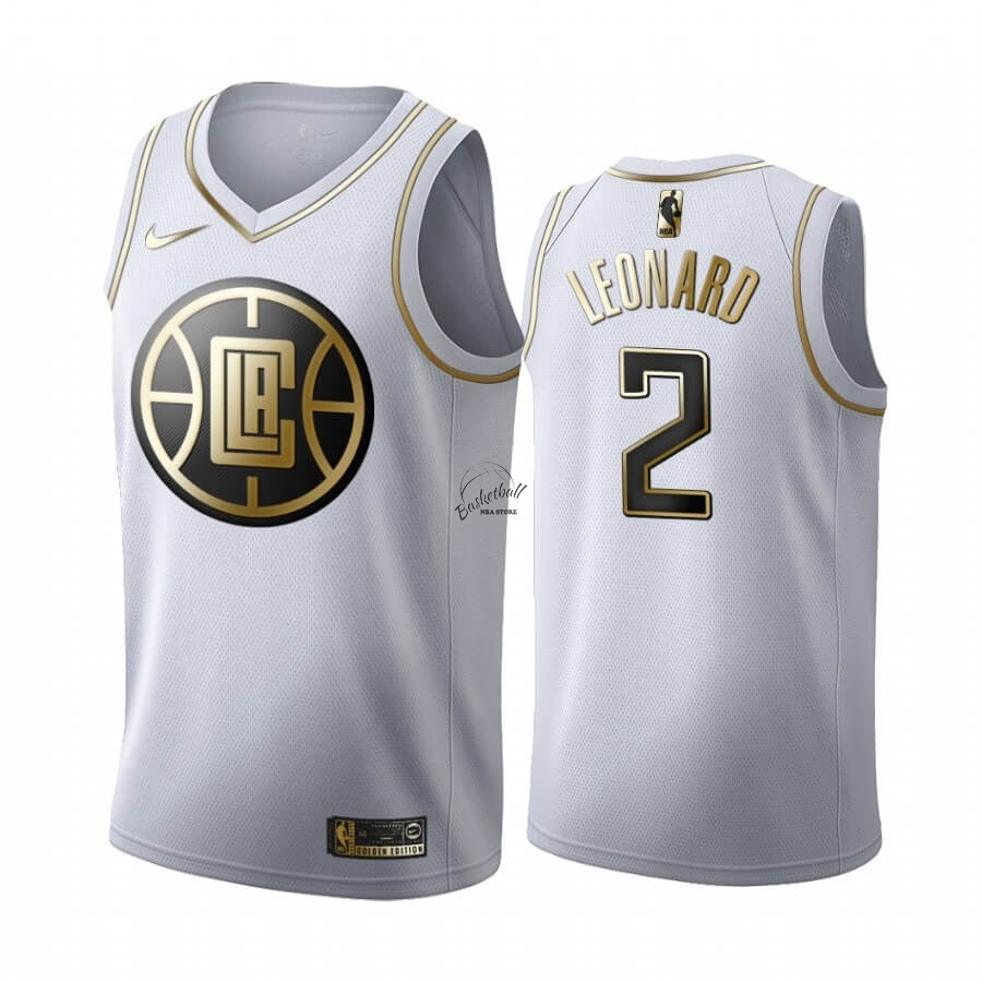 Choisir Maillot NBA Nike Los Angeles Clippers NO.2 Kawhi Leonard Blanc Or 2019-20