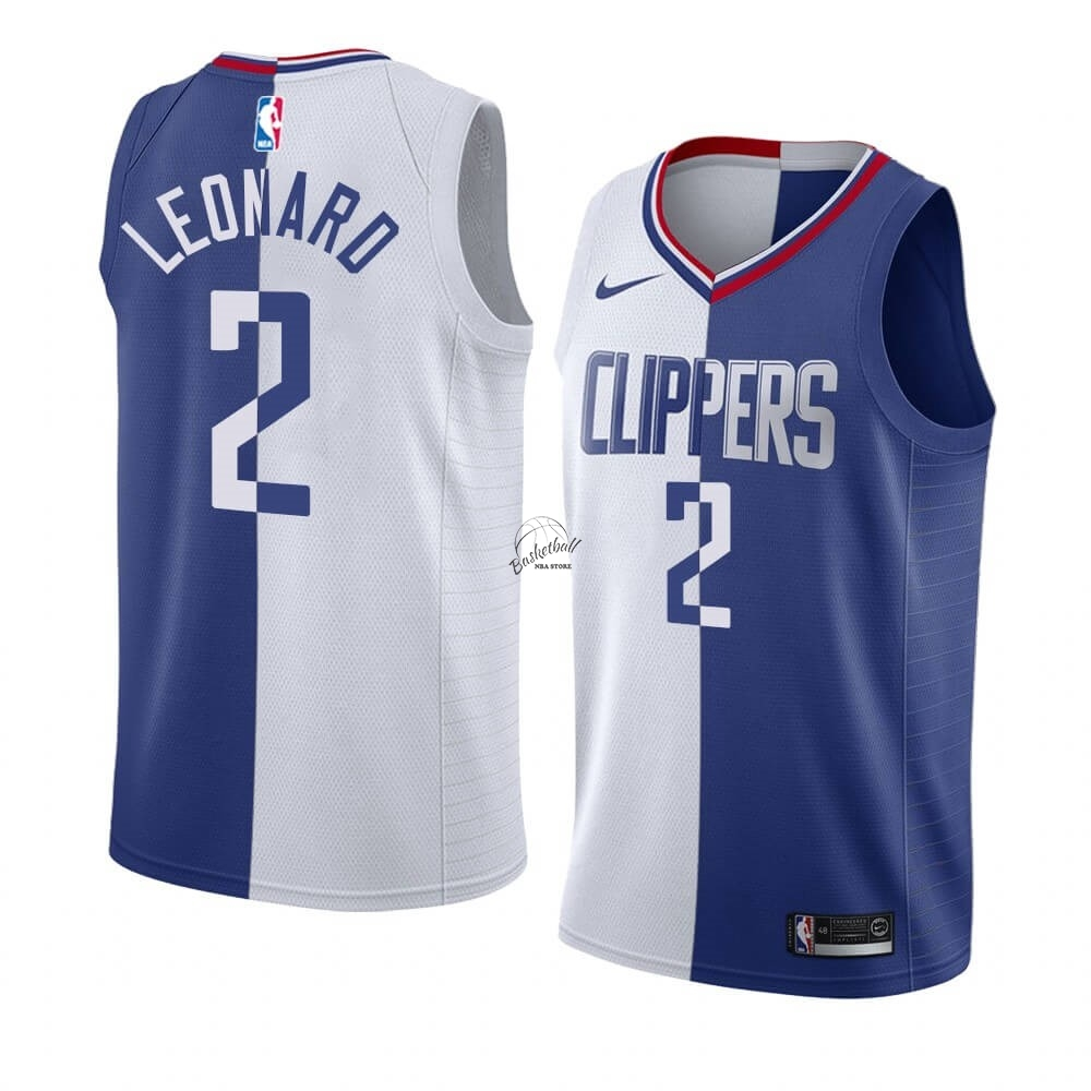 Choisir Maillot NBA Nike Los Angeles Clippers NO.2 Kawhi Leonard Bleu Blanc Split Edition