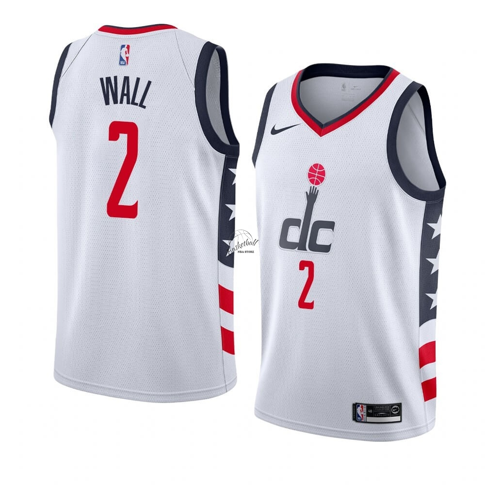 Choisir Maillot NBA Nike Washington Wizards NO.2 John Wall Nike Blanc Ville 2019-20