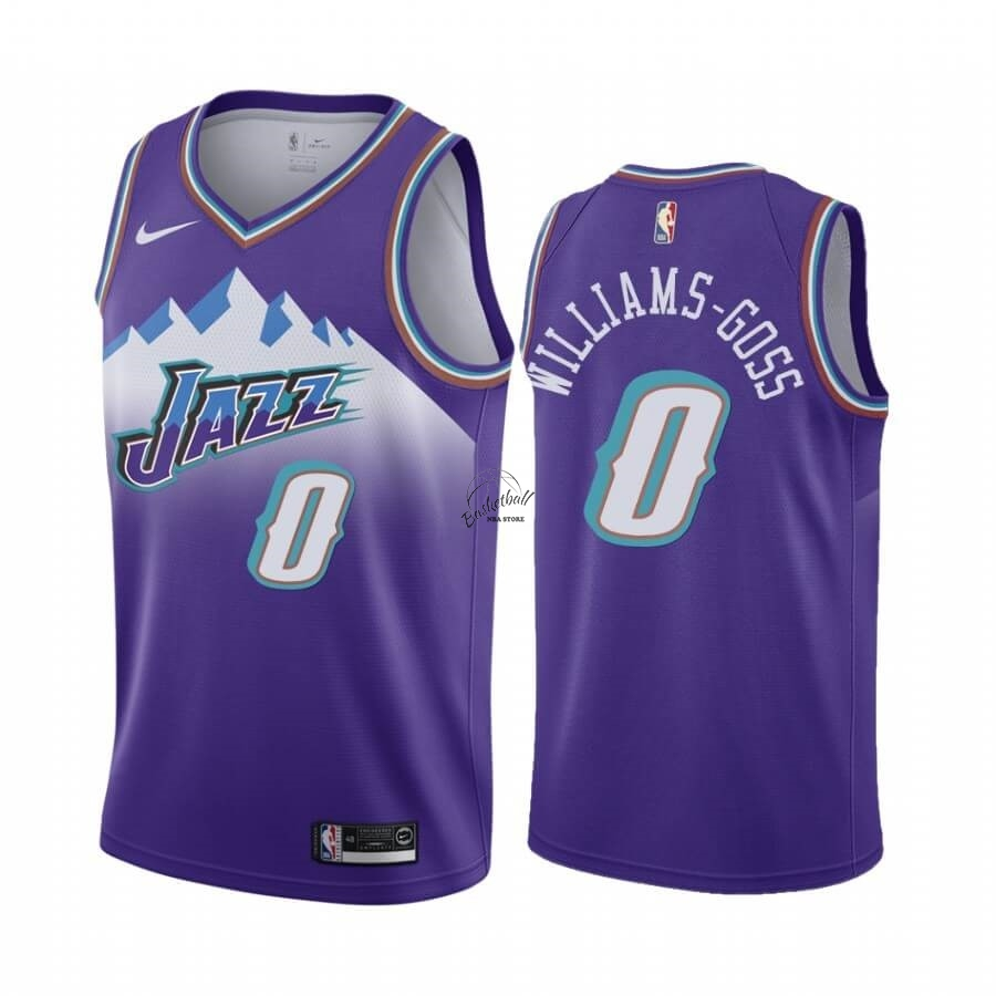 Choisir Maillot NBA Utah Jazz NO.0 Nigel Williams-Goss Pourprel Hardwood Classics 2019-20