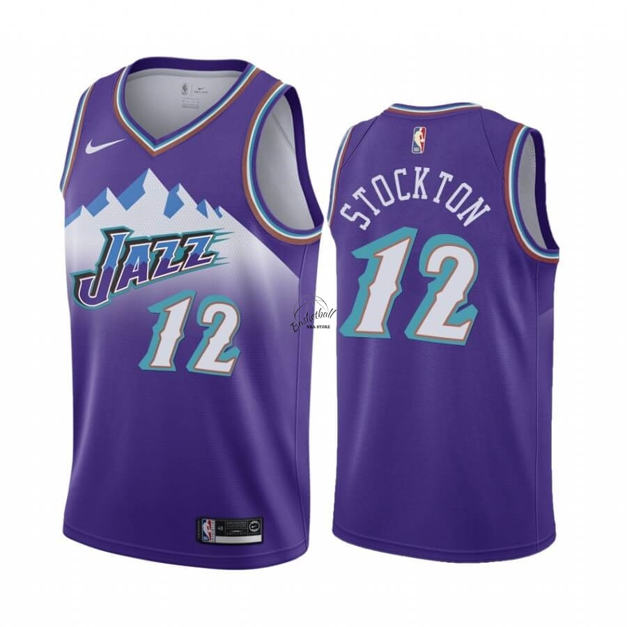 Choisir Maillot NBA Utah Jazz NO.12 John Stockton Pourprel Hardwood Classics 2019-20