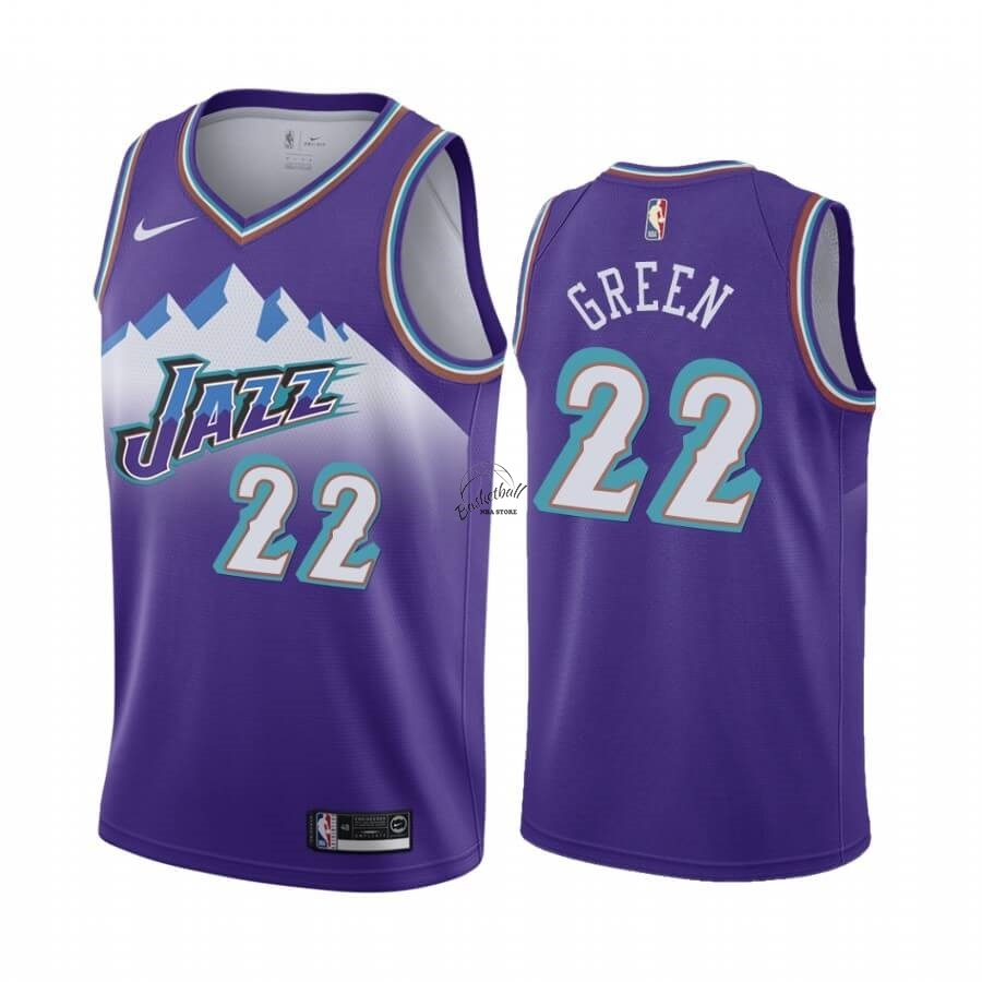 Choisir Maillot NBA Utah Jazz NO.22 Jeff Green Pourprel Hardwood Classics 2019-20