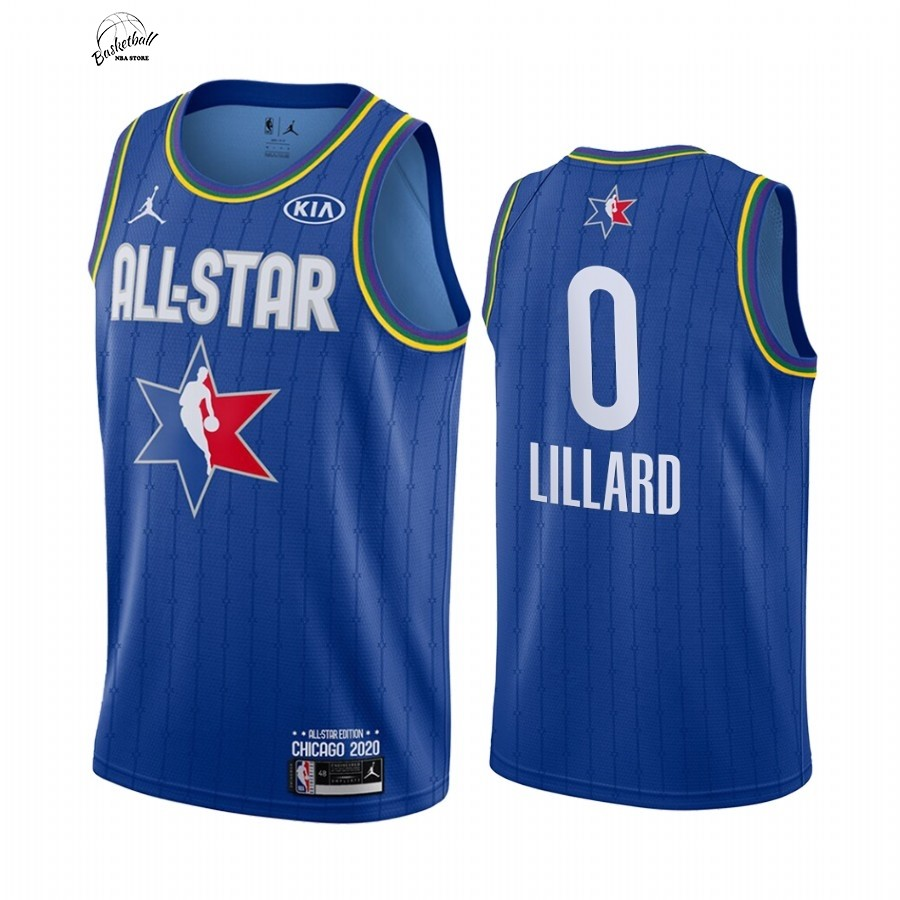 Choisir Maillot NBA 2020 All Star NO.0 Damian Lillard Bleu