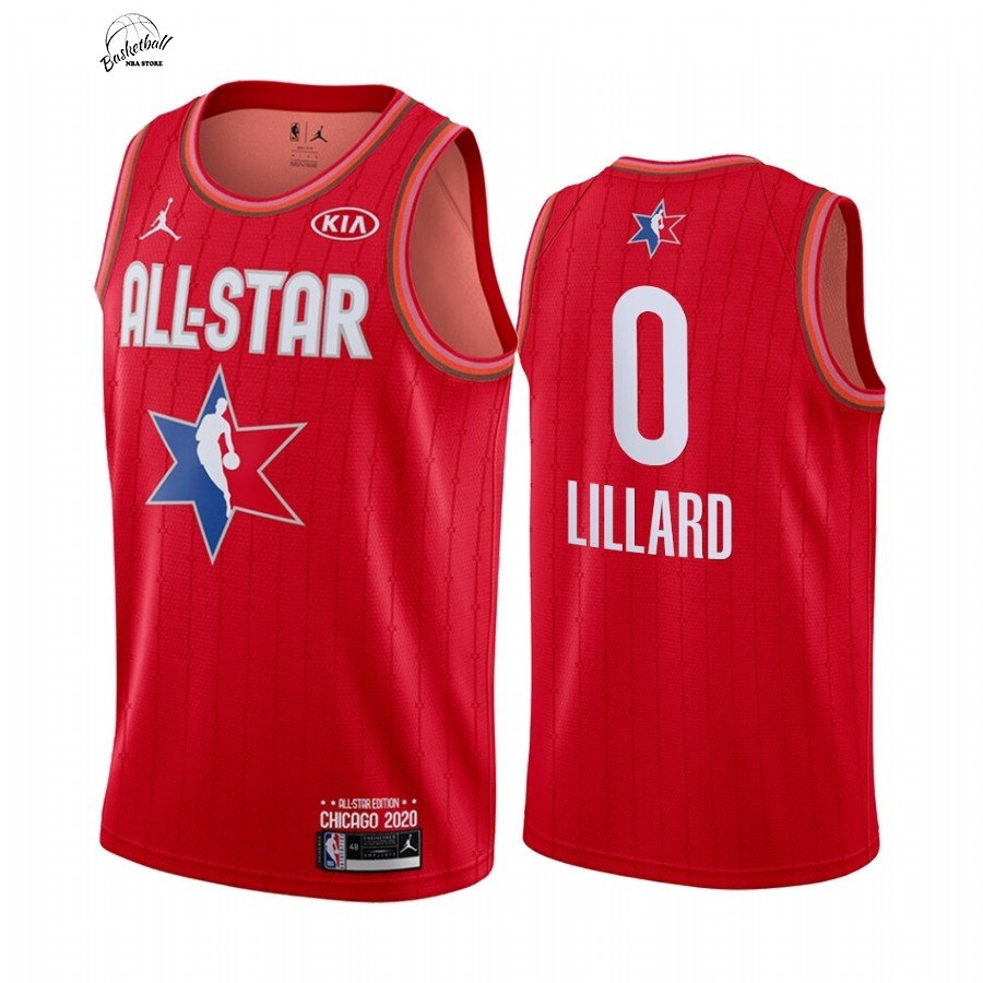 Choisir Maillot NBA 2020 All Star NO.0 Damian Lillard Rouge