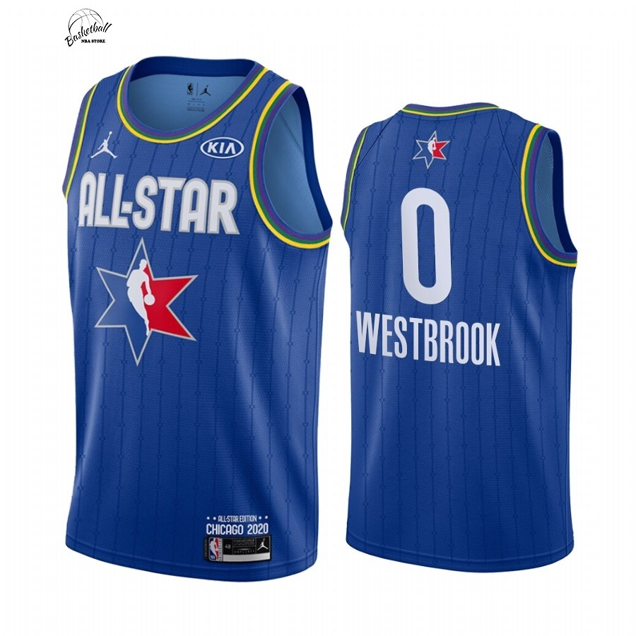 Choisir Maillot NBA 2020 All Star NO.0 Russell Westbrook Bleu