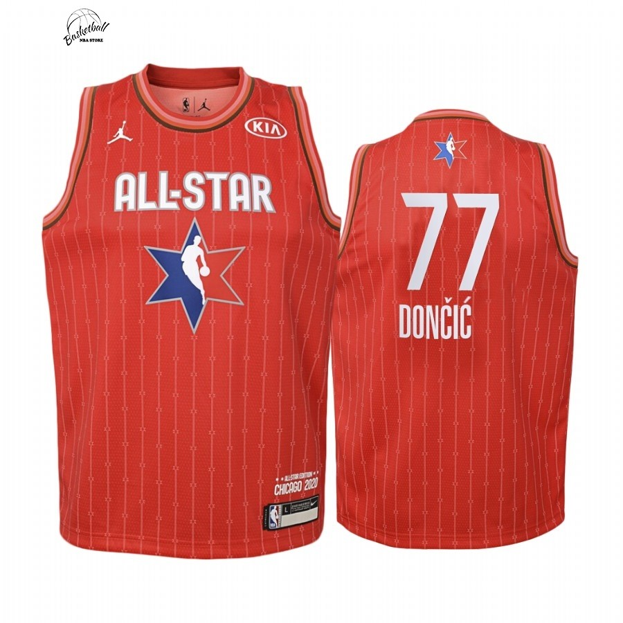 Choisir Maillot NBA Enfant 2020 All Star NO.77 Luka Doncic Rouge