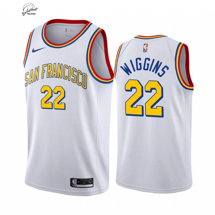 Choisir Maillot NBA Nike Golden State Warriors NO.22 Andrew Wiggins Blanc Classics Edition 19 20