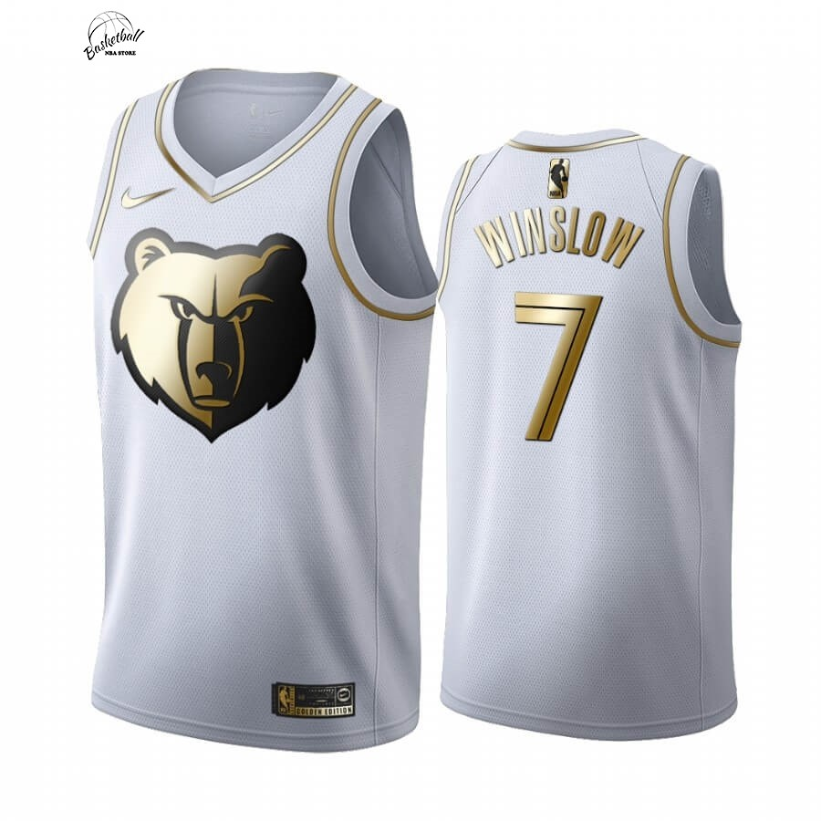 Choisir Maillot NBA Nike Menphis Grizzlies NO.7 Justise Winslow Blanc Or 2019-20