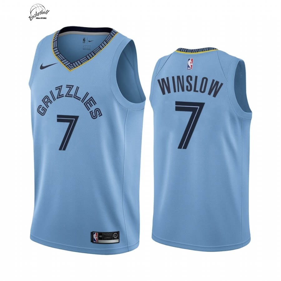 Choisir Maillot NBA Nike Menphis Grizzlies NO.7 Justise Winslow Bleu Statement 2019-20