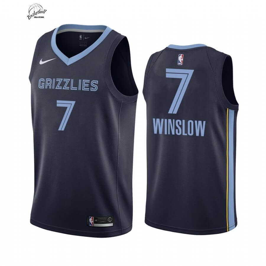 Choisir Maillot NBA Nike Menphis Grizzlies NO.7 Justise Winslow Marine Icon 2019-20