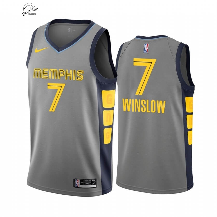 Choisir Maillot NBA Nike Menphis Grizzlies NO.7 Justise Winslow Nike Gris Ville 2019-20