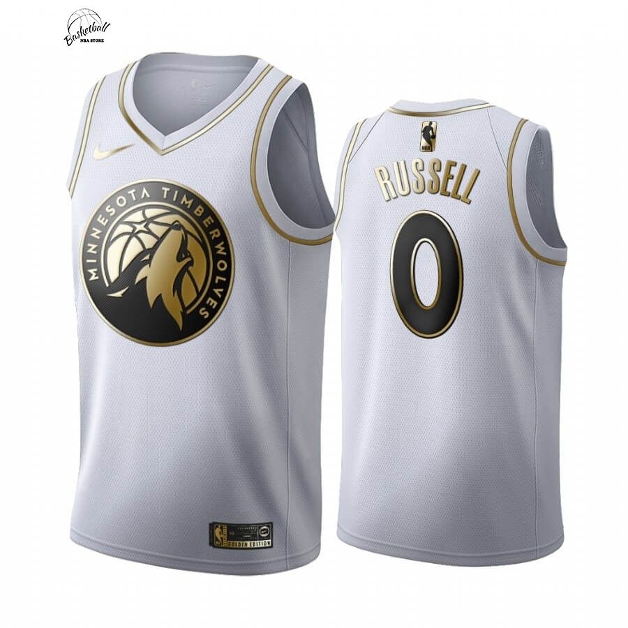 Choisir Maillot NBA Nike Minnesota Timberwolves NO.0 D'angelo Russell Blanc Or 2019-20