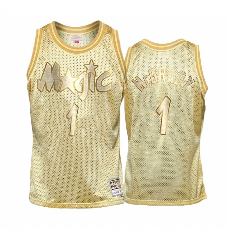 Choisir Maillot NBA Enfant Orlando Magic Midas NO.1# Tracy Mcgrady Or Hardwood Classics