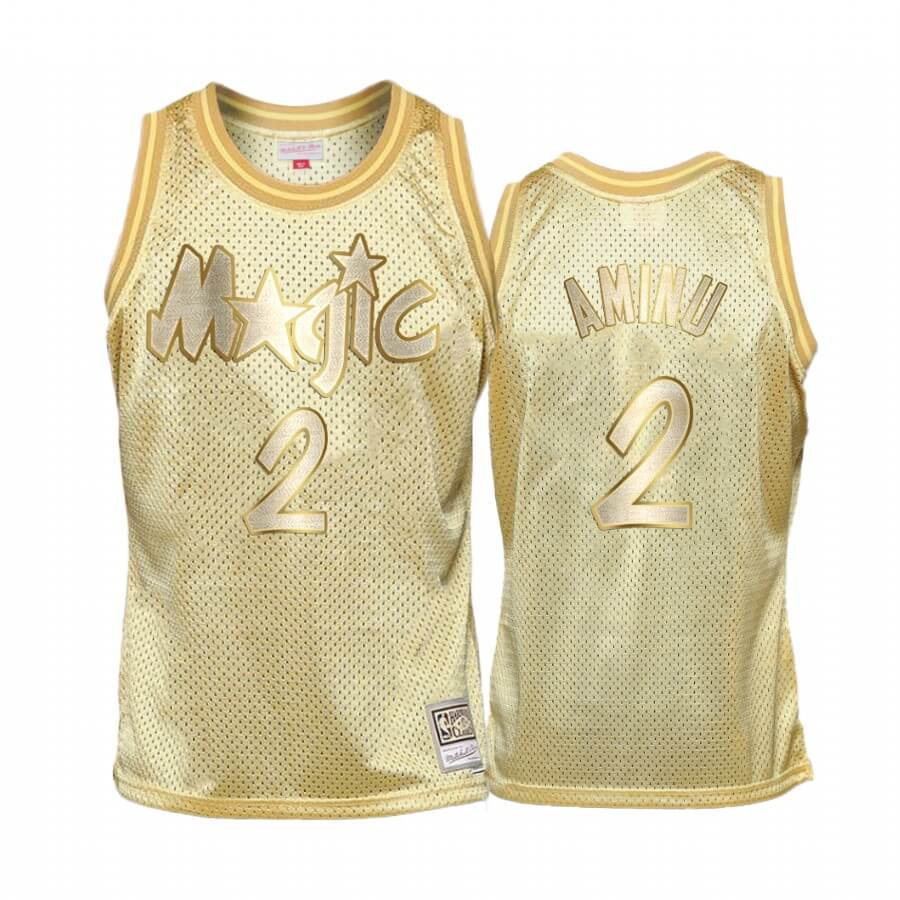 Choisir Maillot NBA Enfant Orlando Magic Midas NO.2# Al Farouq Aminu Or Hardwood Classics