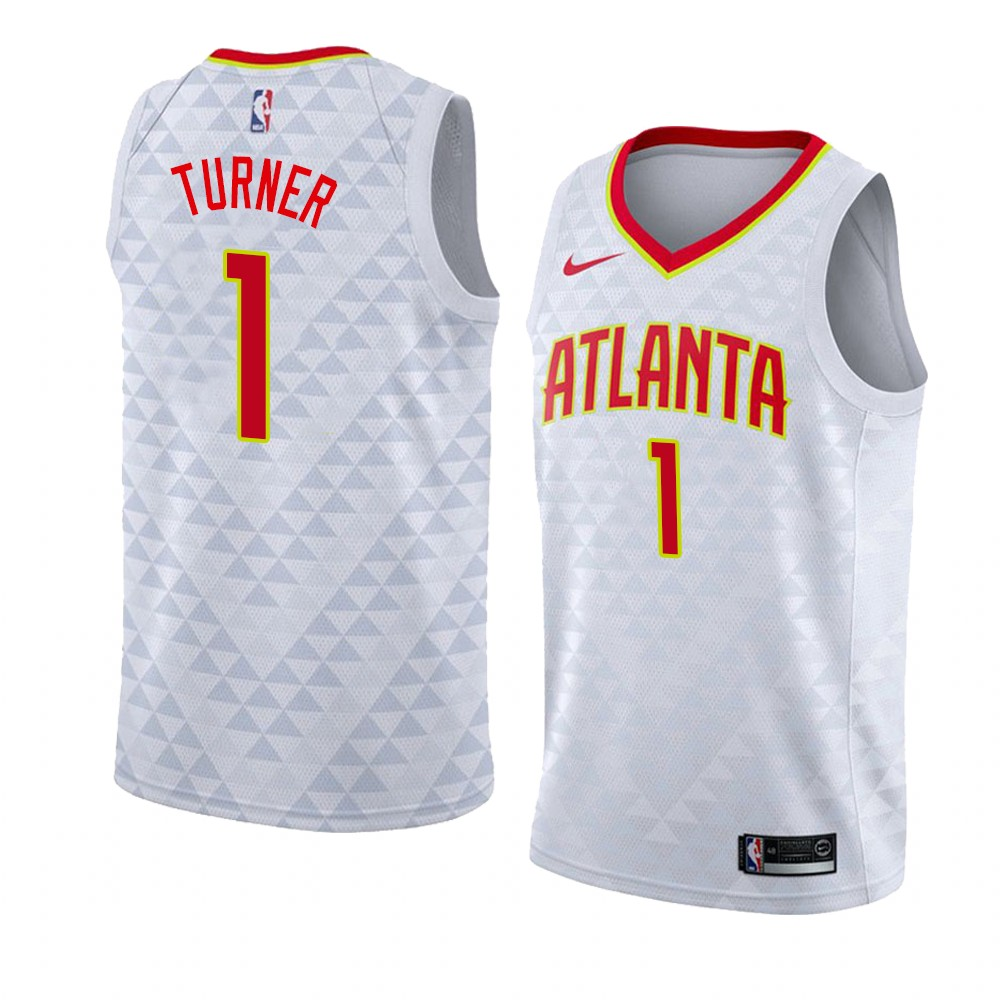 Choisir Maillot NBA Nike Atlanta Hawks NO.1# Evan Turner Blanc Association 2019-20