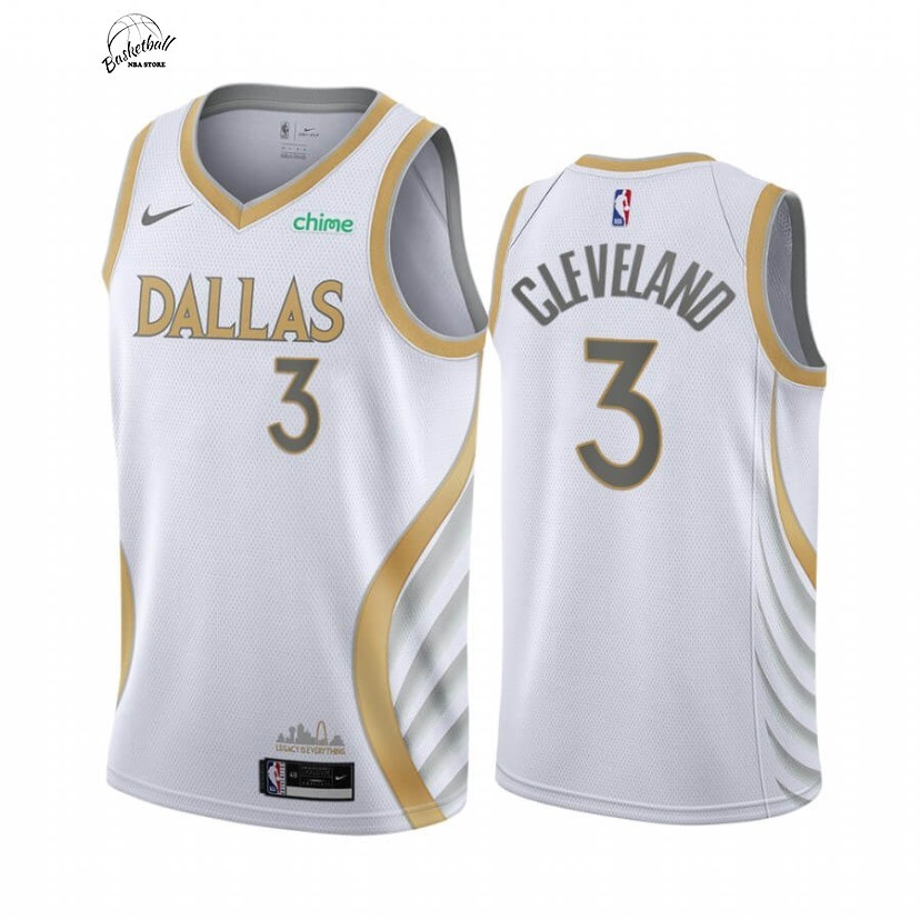 Choisir Maillot NBA Nike Dallas Mavericks NO.3 Antonius Cleveland Blanc Ville 2020-21