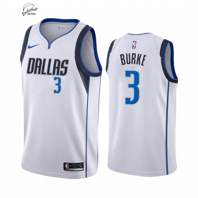 Choisir Maillot NBA Nike Dallas Mavericks NO.3 Trey Burke Blanc Association 2020-21