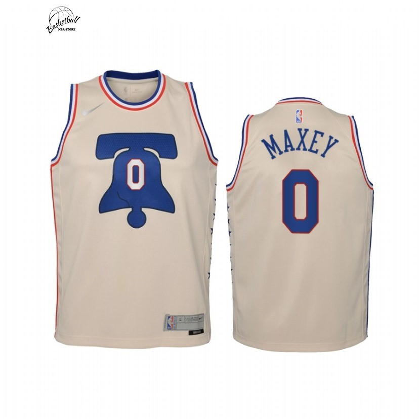 Choisir Maillot NBA Enfant Earned Edition Philadelphia Sixers NO.0 Tyrese Maxey Crème 2021