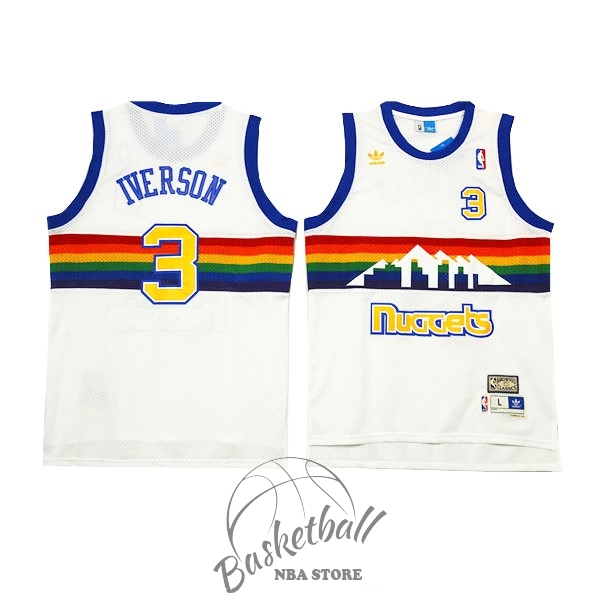 Choisir Maillot NBA Denver Nuggets NO.3 Allen Iverson Blanc 2016-2017