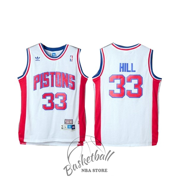 Choisir Maillot NBA Detroit Pistons NO.33 Grant Hill Retro Blanc