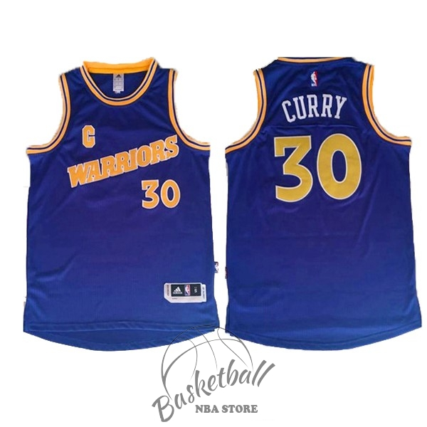76bb81118238d Choisir Maillot NBA Golden State Warriors NO.30 Stephen Curry Retro Bleu  Jaune