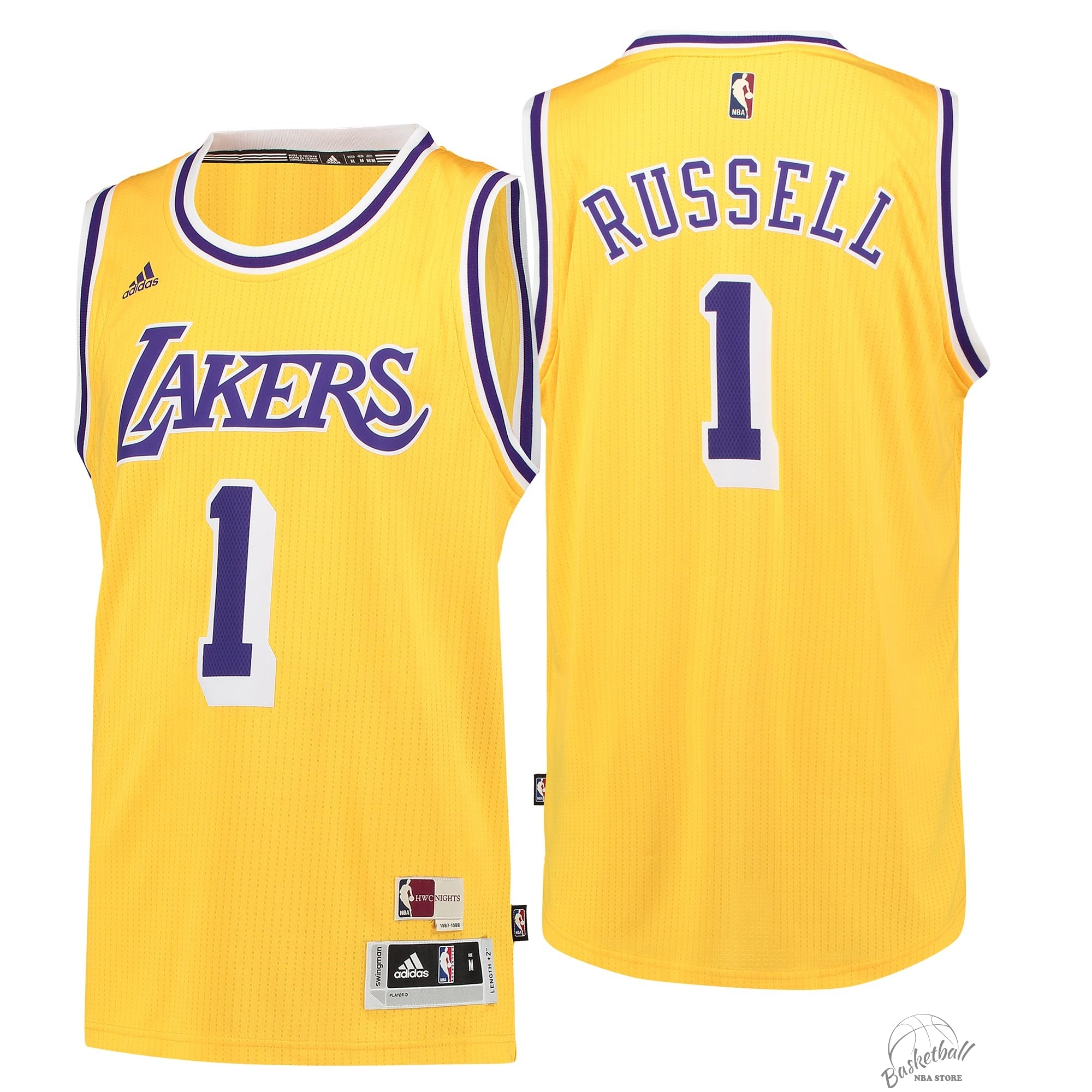 Choisir Maillot NBA Los Angeles Lakers NO.1 D'Angelo Russell Retro Bleu