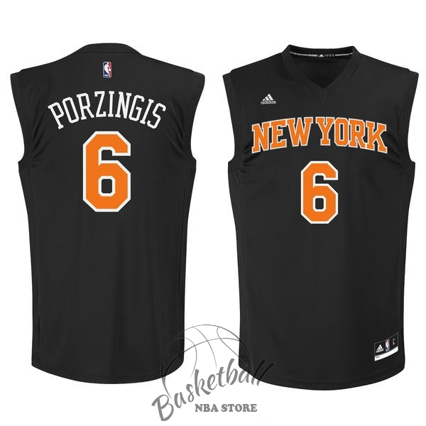 Choisir Maillot NBA New York Knicks NO.6 Kristaps Porzingis Noir Orange