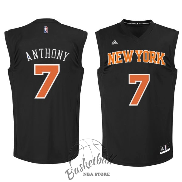 Choisir Maillot NBA New York Knicks NO.7 Carmelo Anthony Noir Orange
