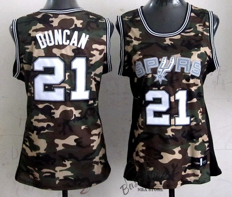 Choisir Maillot NBA Femme 2013 Camouflage Fashion NO.21 Tim Duncan