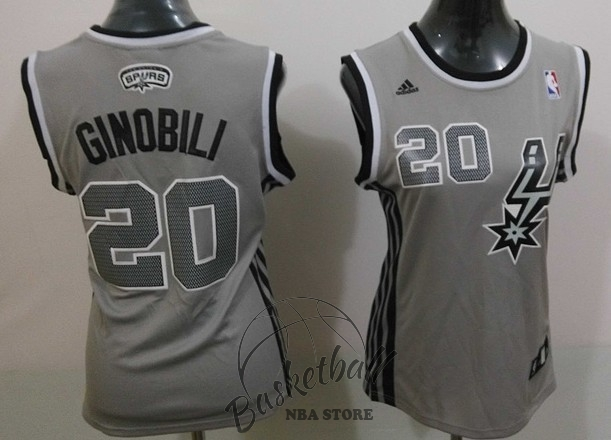 Choisir Maillot NBA Femme 2013 Static Fashion NO.20 Manu Ginóbili Gris