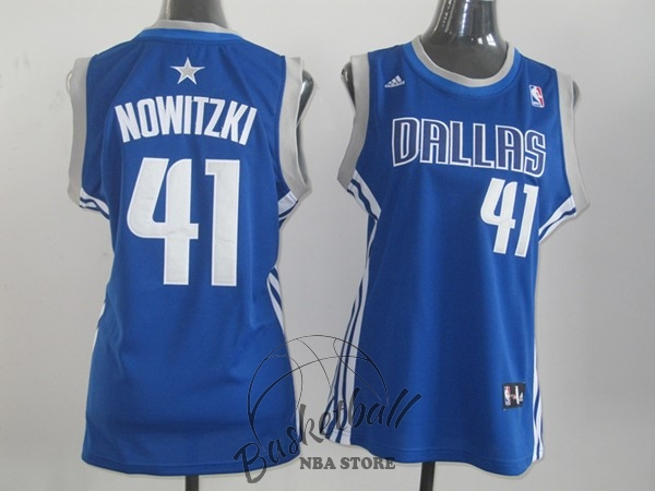 Choisir Maillot NBA Femme Dallas Mavericks NO.41 Dirk Nowitzki Bleu