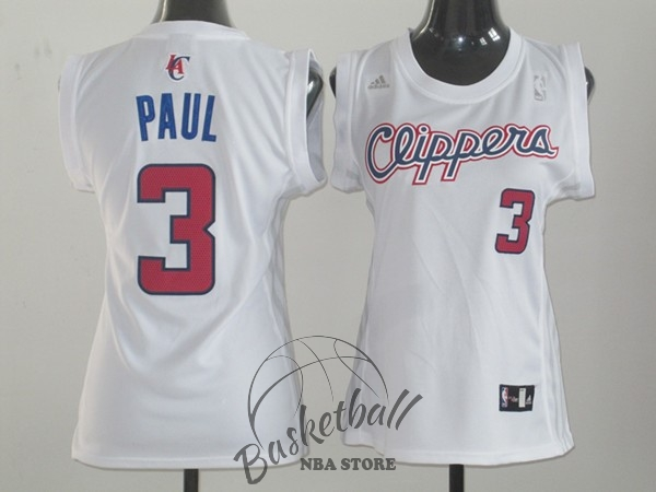Choisir Maillot NBA Femme Los Angeles Clippers NO.3 Chris Paul Blanc