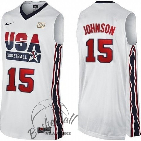 Choisir Maillot NBA 1992 USA NO.15 Johnson Blanc