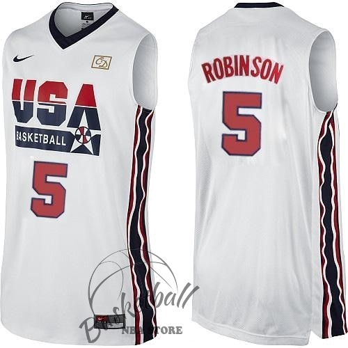 Choisir Maillot NBA 1992 USA NO.5 David Robinson Blanc