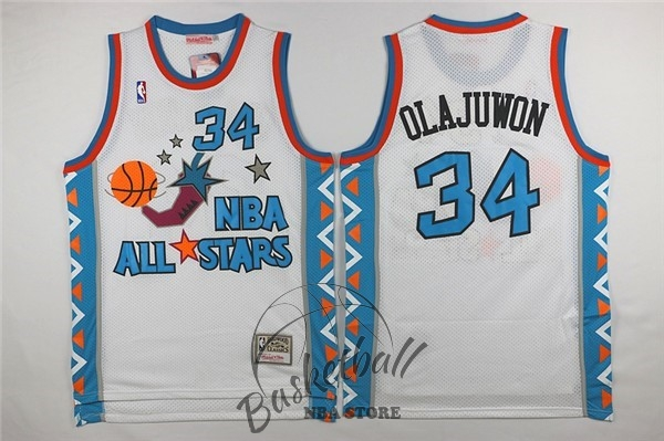 Choisir Maillot NBA 1996 All Star NO.34 Hakeem Abdul Olajuwon Blanc