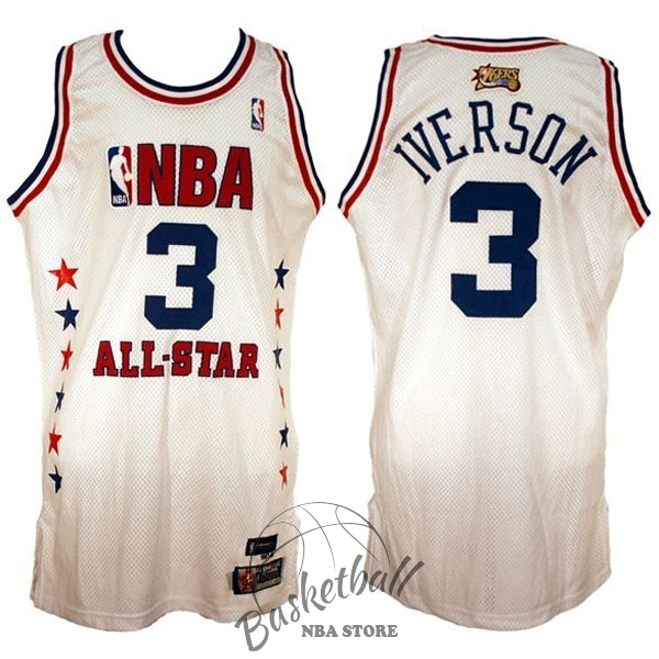 Choisir Maillot NBA 2003 All Star NO.3 Allen Iverson Blanc