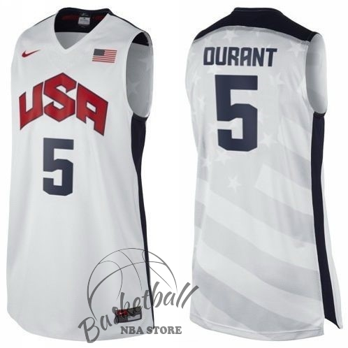 Choisir Maillot NBA 2012 USA NO.5 Durant Blanc