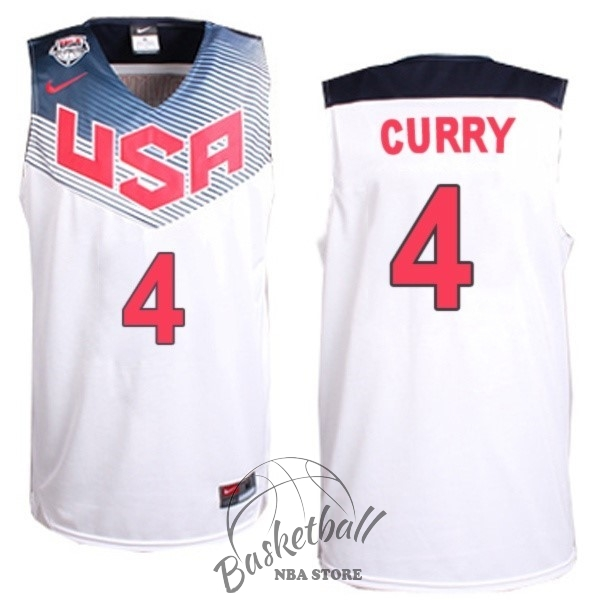 Choisir Maillot NBA 2014 USA NO.4 Curry Blanc