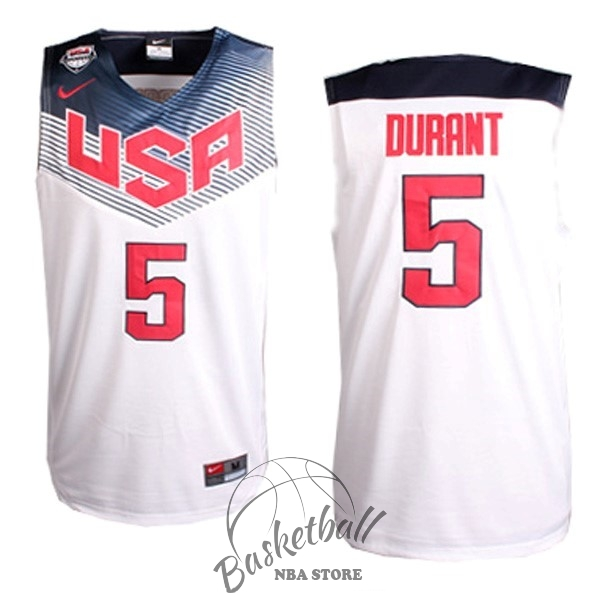Choisir Maillot NBA 2014 USA NO.5 Durant Blanc