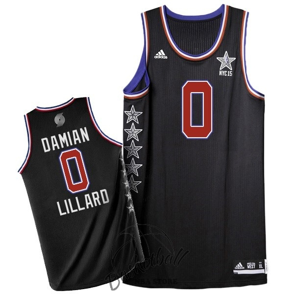 Choisir Maillot NBA 2015 All Star NO.0 Damian Lillard Noir