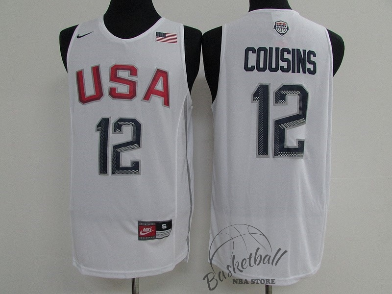 Choisir Maillot NBA 2016 USA NO.12 DeMarcus Cousins Blanc